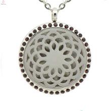 Top venda de óleo essencial difusor medalhão, flor em forma de pingente colares, perfume medalhão atacado