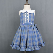 Girls Blue Cotton Flannel Plaid Ruffle Dress
