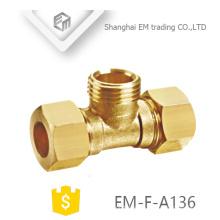 EM-F-A136 Außengewinde T-Stück Messing-Rohrverschraubung mit Doppelschnellverbinder