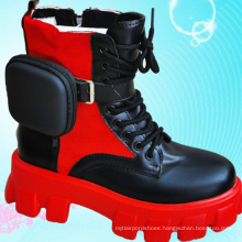Thick chunky sole  laces and zipper dual-use women's pocket trendy girl ankle boots