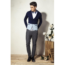 100%Cotton Shawl Collar Knit Men Cardigan with Decorative Pocket