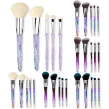 2021 New Design 5 pcs Glitter Diamond Plastic Handle Blush Cosmetics Make Up Brushes Daily Blending Makeup Brush Set With Case