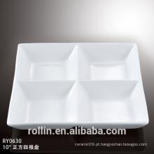 Porcelana durável quatro seções divididas placa