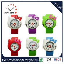 Promotional Silicone Rubber Lady Kids Slap Japan Movt Stainless Steel Back Watch (DC-531)