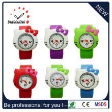 Рекламные силиконовые резиновые Lady Kids Slap Японии Movt из нержавеющей стали Назад часы (DC-531)