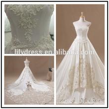 Lace Appliqued Satin Fußboden Länge nach Maß lange formale Braut-Design Robe De Mariee HS238 Brautkleider mit langen Zügen