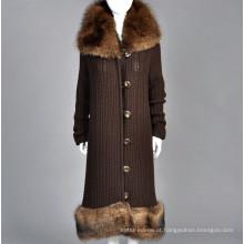 15PKCAS37 senhora moda inverno longo casaco de cashmere de pele de vison