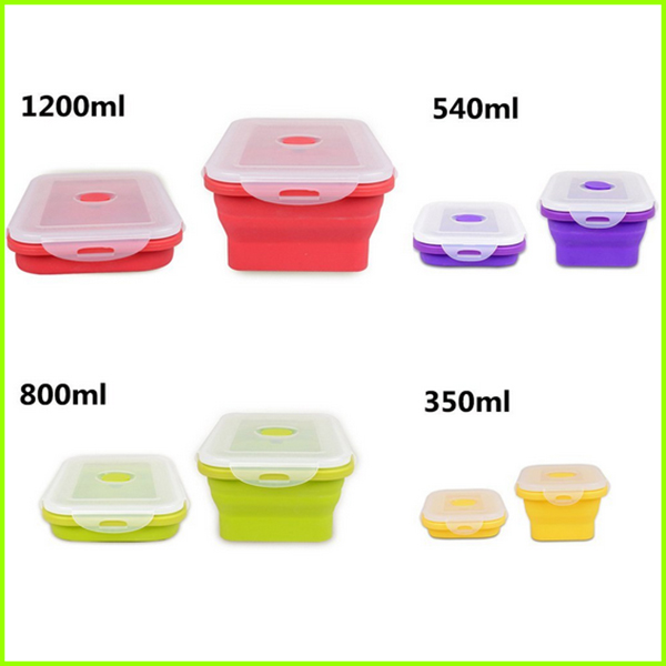 Set Of 4 Silicone Kids Lunch Box
