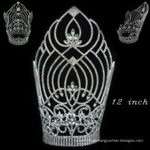 Accesorios para el cabello plateados de cristal lleno de cristal alto tiara corona para las mujeres