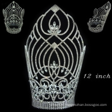 hair accessories silver plated full crystal tall pageant tiara crown for women