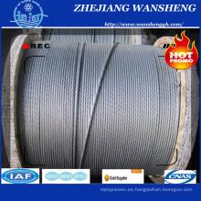 Hilo de alambre de acero galvanizado Hot-Dipped con SGS 3X7 / 19m m