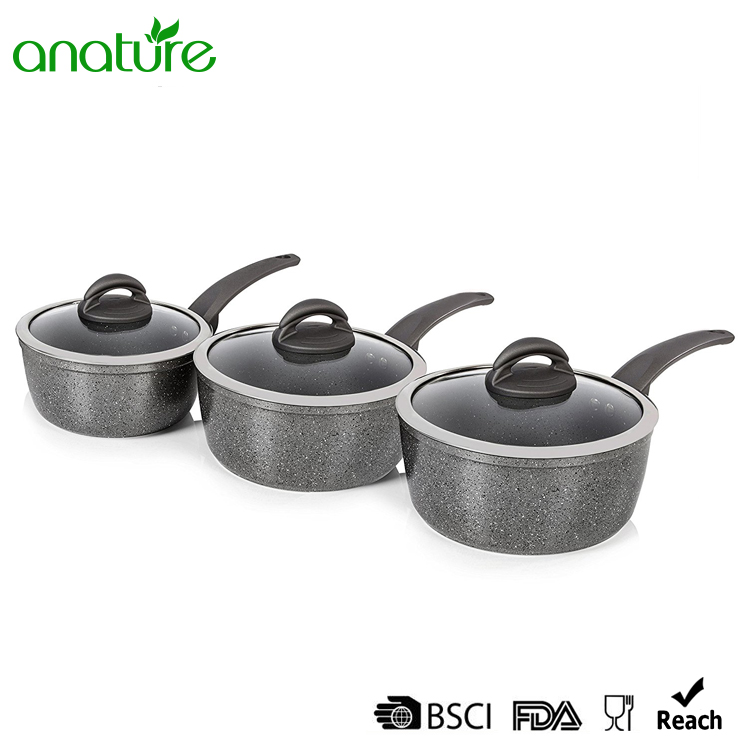 Forged 6 Pcs Marble Sauce Pan Cookware Set