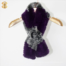 Neue Art- und Weisehand strickte Kaninchen-Pelz-Winter-mit Kapuze Schal-Frauen