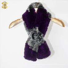Nueva moda hecha a mano de piel de conejo de piel de invierno con capucha mujeres bufanda