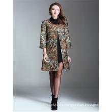2017 Moda bordados señoras largas mujeres abrigos