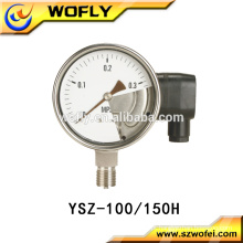 Calibrador de pressão de contato elétrico de aço inoxidável 304 com montagem inferior