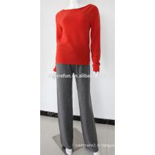 printemps porter 12gg plat tricoté 100% femmes pantalons en cachemire