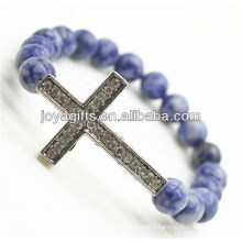 Diamante Cross Alloy Friendship Gemstone Sosalite Bracelet