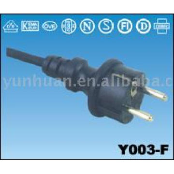 Cable european market VDE certificated straight power cord 16A