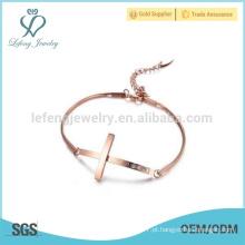 Unique rosa pulseira de ouro, pulseira cruz, senhoras pulseira de aço inoxidável