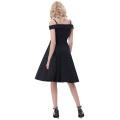 Belle Poque Correas de espagueti Alto Stretchy A-Line negro Retro Vintage Swing vestido BP000390-1