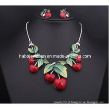 Resina conjunto de colar de cereja / moda jóias set (xjw13207)