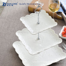 Style occidental Jolie conception quotidienne Usé Fine Ceramic Flower Pattern Ceramic Three Layers Fruit Plates