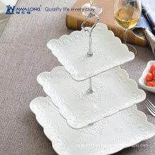 Estilo ocidental bonito design diário usado padrão de flor de cerâmica fina três camadas de cerâmica placas de frutas