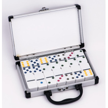 Double 6 Plastic Dominoes In Aluminum Box