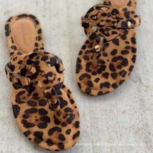 Superstarer Plus Size 2020 Summer Women Sandals Hot European and American Leopard Print Slippers Flat Roman Women′s Flip-Flops