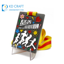 China manufacturer custom metal zinc alloy soft enamel charity running medal with heart logo