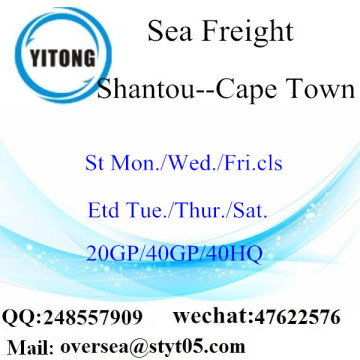 Expédition de fret maritime du port de Shantou à Cape Town