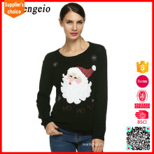 2017 New design long sleeves plain adult knitted christmas jumpers