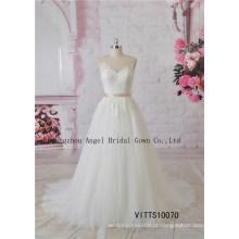 Design atraente ilusão decote manga comprida vestido de noiva nupcial