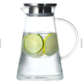 High Borosilicate Glass Water Pitcher/Beverage Carafe with Stainless Steel Lid and Spout