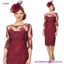 Nuevos vestidos de la madre del cordón de Borgoña de la vendimia Mangas largas elegantes de la cucharada elegante con los vestidos más grandes del banquete de boda del tamaño