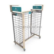 Libre de diseño de alambre de metal Gridwall doble cara de 4 vías de suelo colgando de regalo de la Escuela de bolsa de exhibición