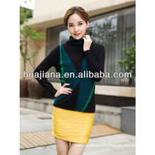 высокой шеи женщин мода печать кашемир свитер