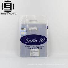 Sacs d'emballage en plastique de poignée de corde imprimée par logo