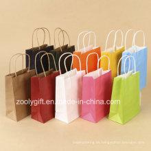 Venta al por mayor baratos de reciclaje de impresión Kraft bolsas de papel con mango torcido