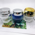 high quality glass material 30g electroplated silver glass jar for facial cream