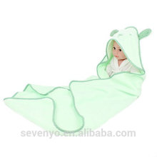 100% bamboo wrap in green baby towel with hood baby Hooded towel super fluffy premium bear ears baby bath towel