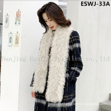 Long Pile Natural Mongolian Fur Scarf Eswj-33A