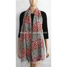 Grey and Red Print Acrylic Scarf