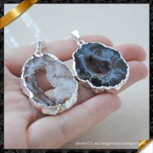 Más nuevo diseño de piedra natural de Drusy collar de ágata (fn086-1)
