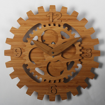 Bamboo Wheel Gear Relojes de pared