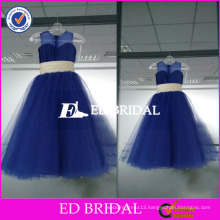 ED Bridal Real Sample Beautiful Royal Blue Tulle Long Flower Girl Dress 2017