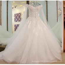 RP58700 Real off shoulder beaded long train spanish lace whole set wedding dress beautiful bridal dress