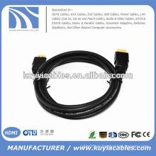 Alta calidad 5m 1.4V negro HDMI MALE a la resolución completa del CABLE 1080p del varón nuevo