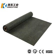 Floor Rubber Gym Mat, Black Rubber Tiles Outdoor Safety Recycled Granules Rubber Floor Tile for Gym